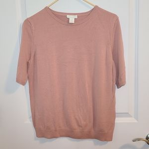 H&M Dusty Rose knit short sleeved sweater